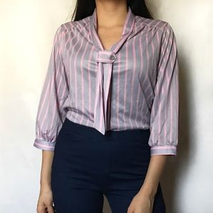 Tops - 70's purple pink striped blouse 3/4 sleeves